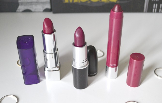 3 plum lipsticks open