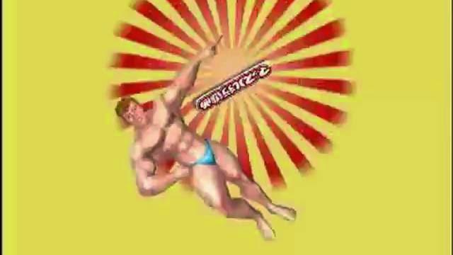 Muscle March trailer, jeu vidéo de parcour avec gars nu musclé
