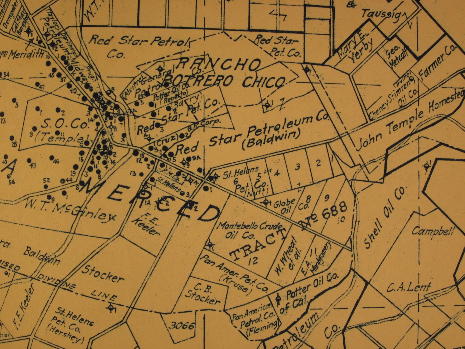 this 1924 map of oil fields in the montebello whittier districts shows the rancho potrero chico as being separate from much of the land denoted as the barry