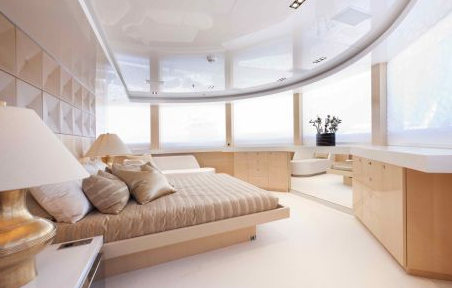 photos of interior of 5000Fly la pellegrina super yacht ship boat built by couach shipyards in france