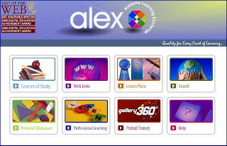 a screenshot of the ALEX website and tabs