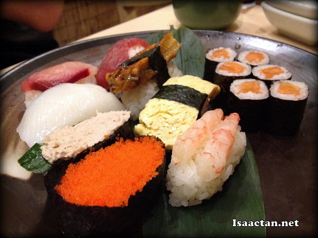 Various sushis off the kaiten belt at Sushi Tei