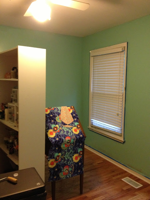 Craft room after paint with valence