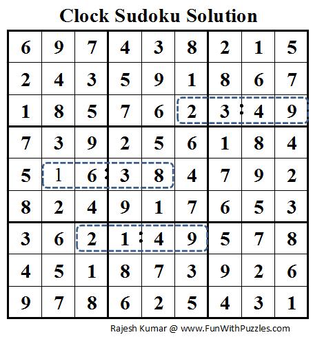 Clock Sudoku (Daily Sudoku League #75) Solution