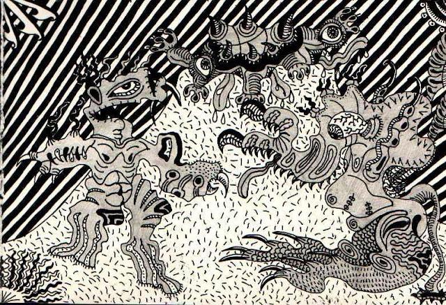Три бесформенных чудовища на холме. Нарисовано под воздействием Sepultura - Against (1998). Графический рисунок тушью