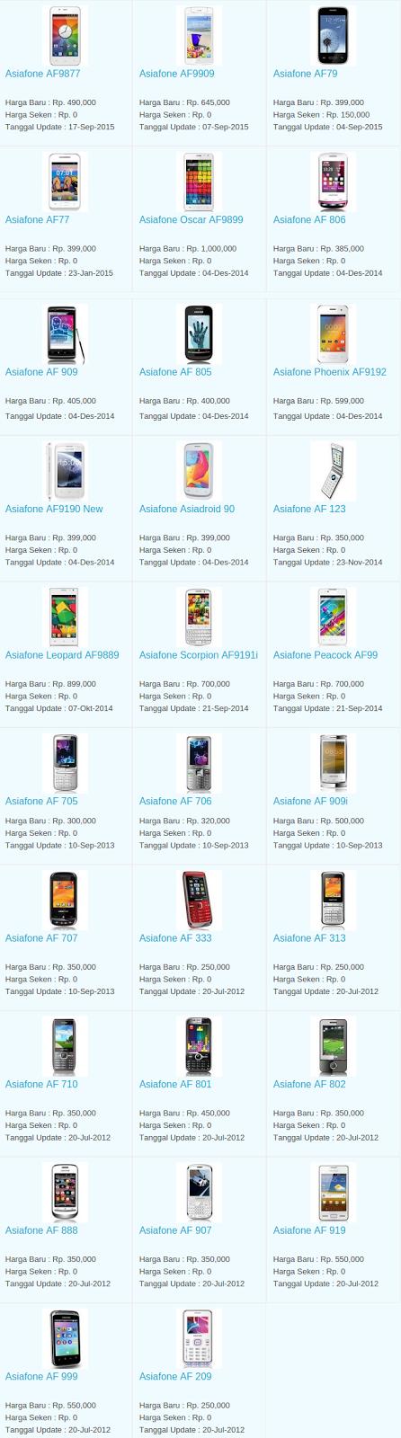 Daftar Harga Hp Asiafone November 2015