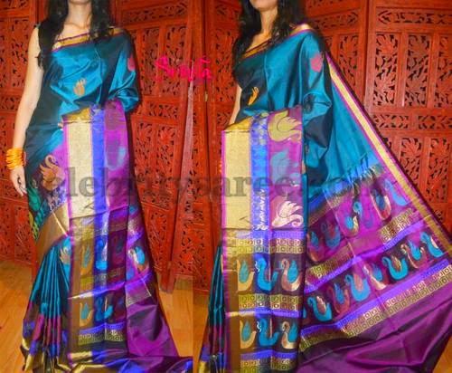 Tri Color Printed Uppada Sari