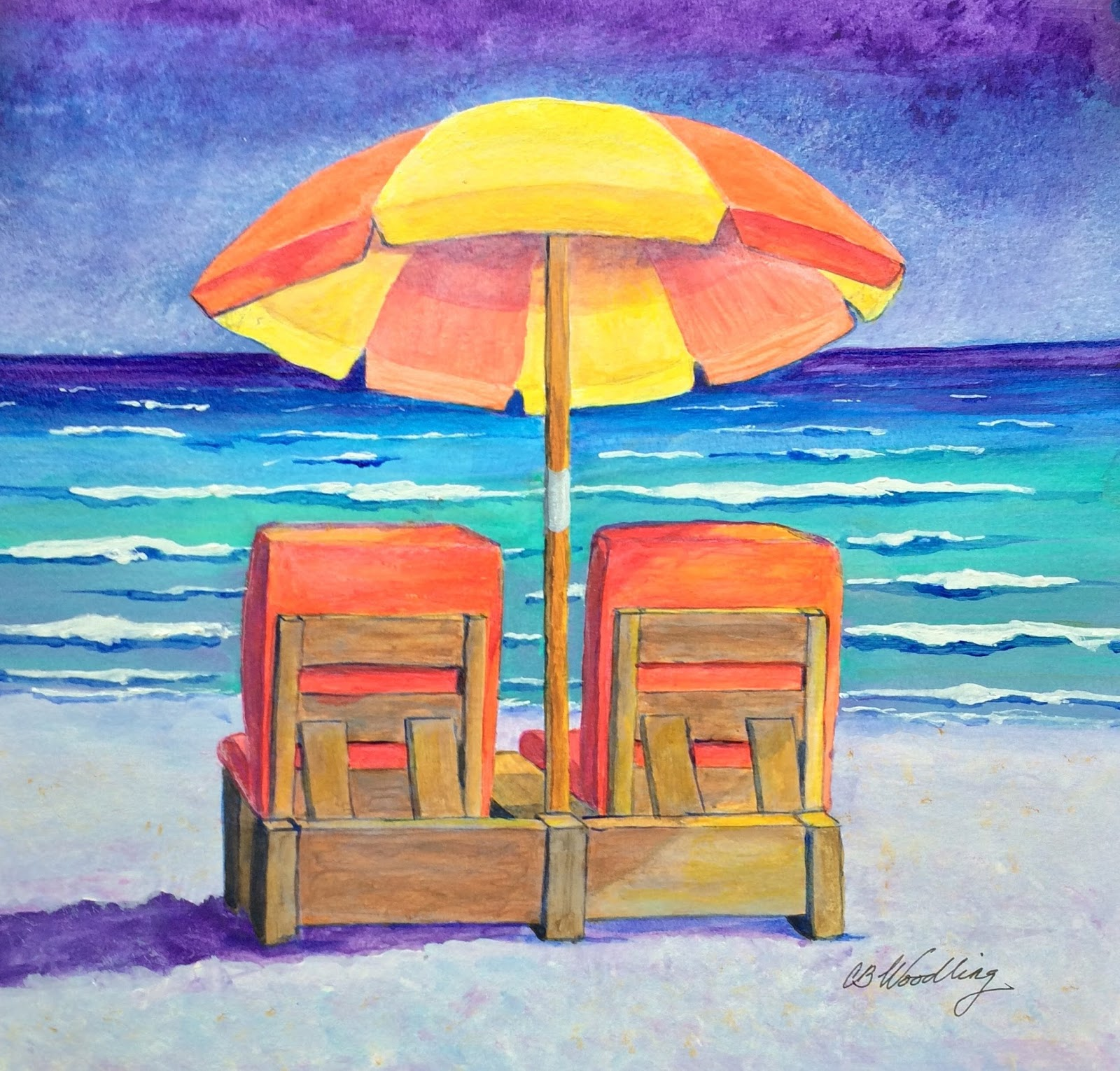 Beach chairs on the beach painting - Beach Chairs In Orange By Cb Woodling