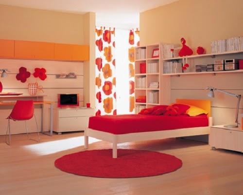 chambre enfants en rouge