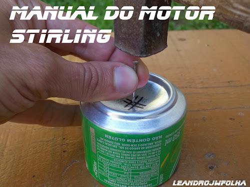 Manual do motor Stirling, marcação com prego, para a furação da lata
