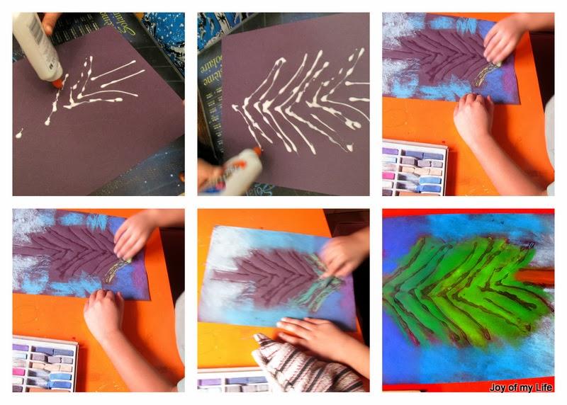 glue chalk pastel kids art