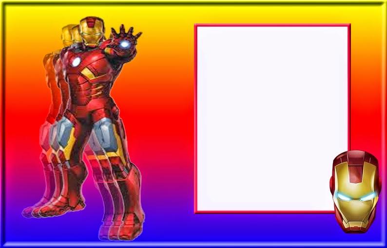 Para hacer invitaciones, tarjetas, marcos de fotos o etiquetas, de Iron Man  para imprimir gratis.