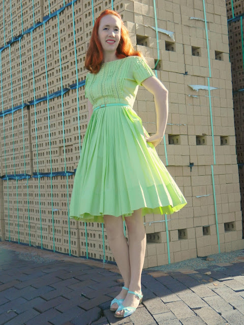 1950s green Jeanne Model dress mint Just Peachy, Darling