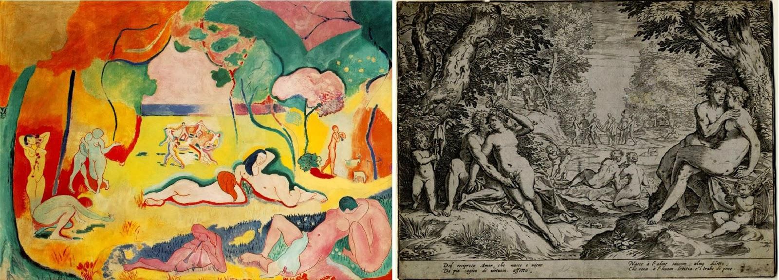 1558 Agostino Carracci Reciproco Amore - Henri Matisse Joie de vivre - gioia di vivere 1905