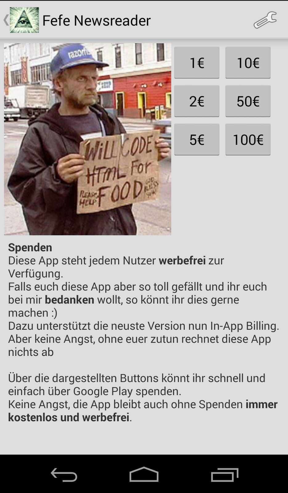 android will code for food