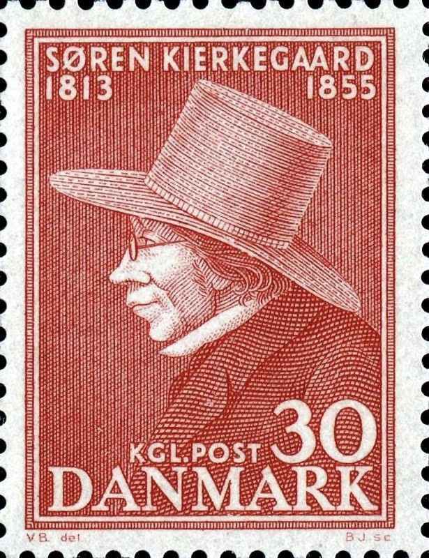 Søren Kierkegaard 1813-1855 - Dansk frimærke fra 1955
