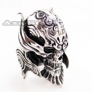 Men's Silver Devil Skull Demon Biker Stainless Steel Ring