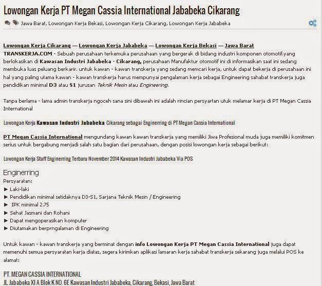Lowongan Kerja PT Megan Cassia International Jababeka Cikarang