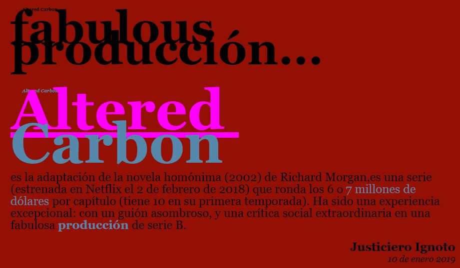 Altered Carbon fabulous producción