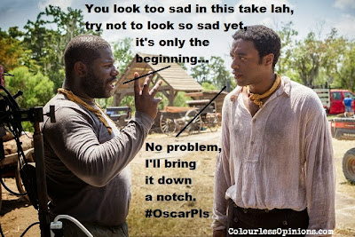 Director Steve McQueen instructing lead actor Chiwetel Ejiofor in 12 Years A Slave behind the scene meme.