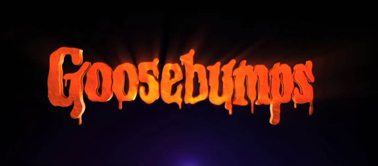 Goosebumps 2015 comedy horror movie title directed by Rob Letterman Jack Black, Dylan Minnette, Odeya Rush, Amy Ryan, Ryan Lee, and Jillian Bell October 2015