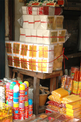 Phnom Penh, joss paper for sale at market Phsar Oreussey