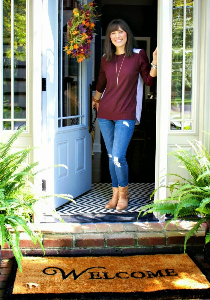 casual fall style  - sweater, distressed denim + ankle boots