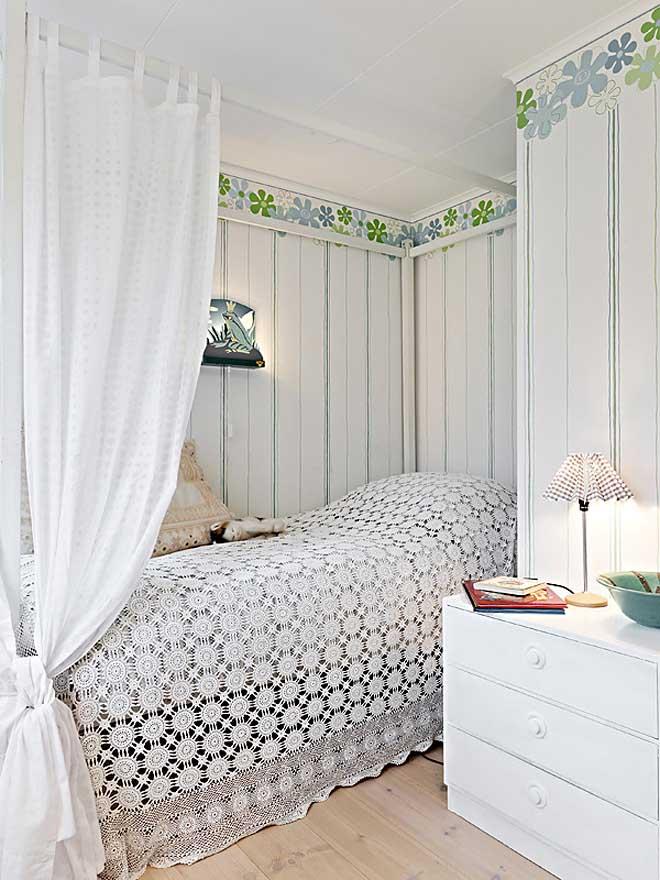 casa de campo diseño interior rustico actual -manta de cama de ganchillo