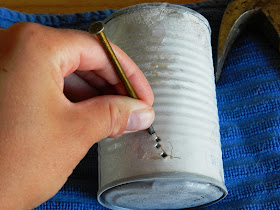 DIY Party Lights:How to make Tin Can Lanterns from soup cans (Grow Creative)
