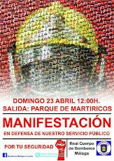 Manifestación en defensa del servicio público de Bomberos