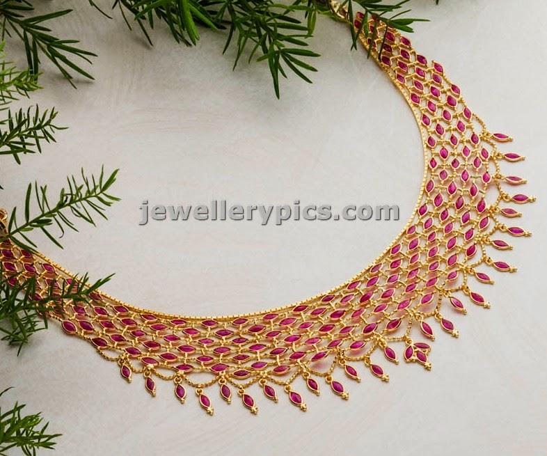 swarnamahal mesh ruby necklace