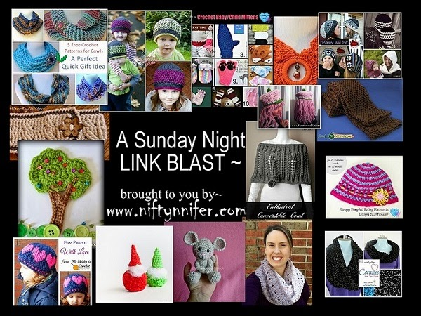 Sunday Night Link Blast ~A Mix Of Fun Crochet Patterns http://www.niftynnifer.com/2014/12/sunday-night-link-blast-mix-of-fun.html #LinkBlast #Crochet #CrochetRoundUp