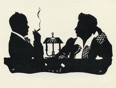 close-up profile silhouette of 2 seated men facing each other, one smoking