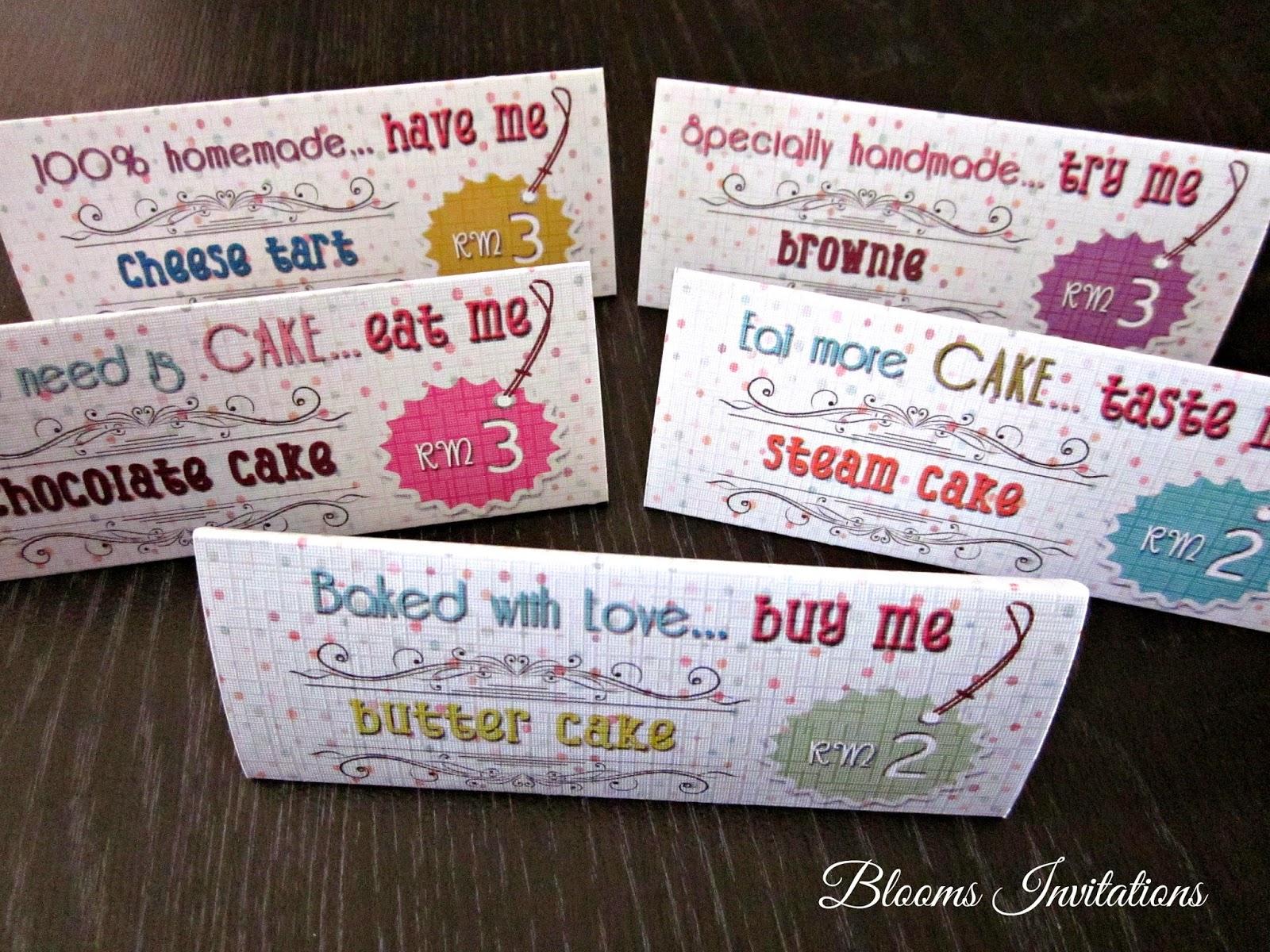 Cakes price tags