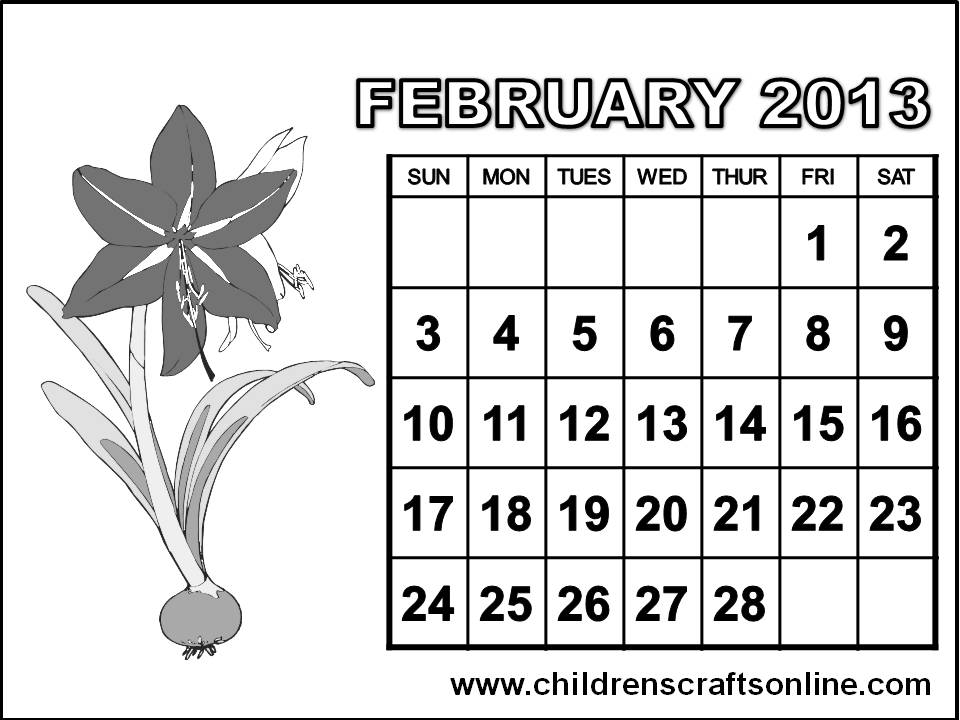 february 2013 calendar coloring pages