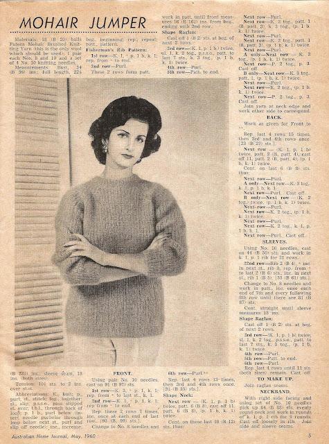 free vintage mohair jumper pattern