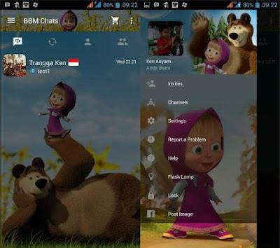 BBM MOD NEW Versi 2.12.0.9 Masya & The Bear Themes