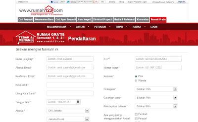 Mengisi formulir rumah gratis di rumah123.com
