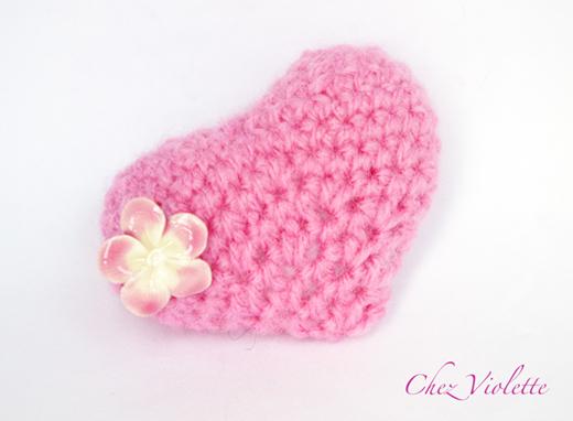 Coeur rose au crochet 3D - Chez Violette