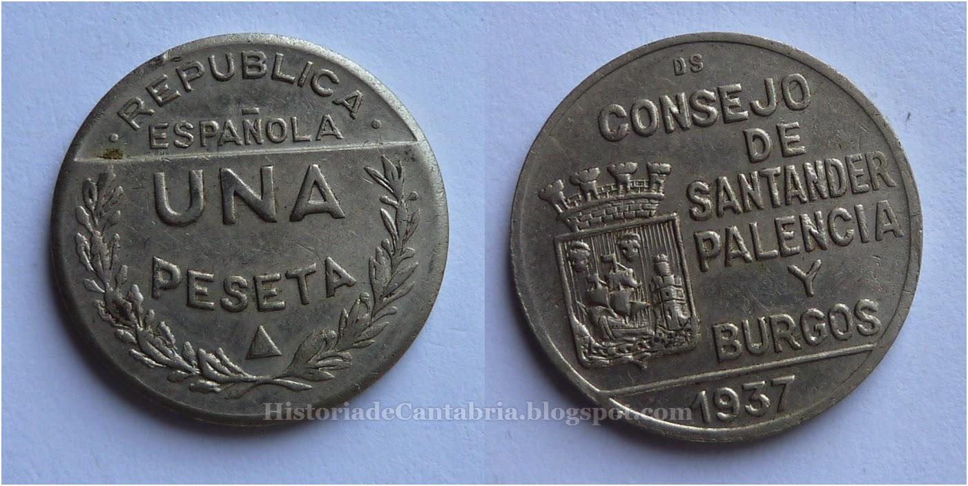 1 peseta Consejo de Santander Palencia y Burgos