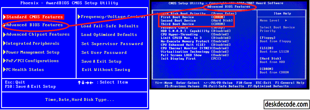 hp bios how to change boot order