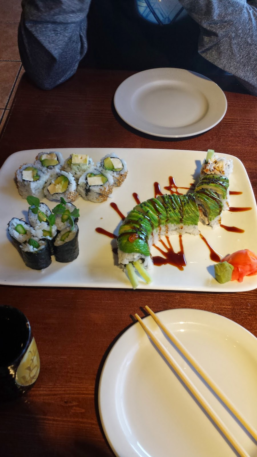 Caterpillar roll sushi roll.
