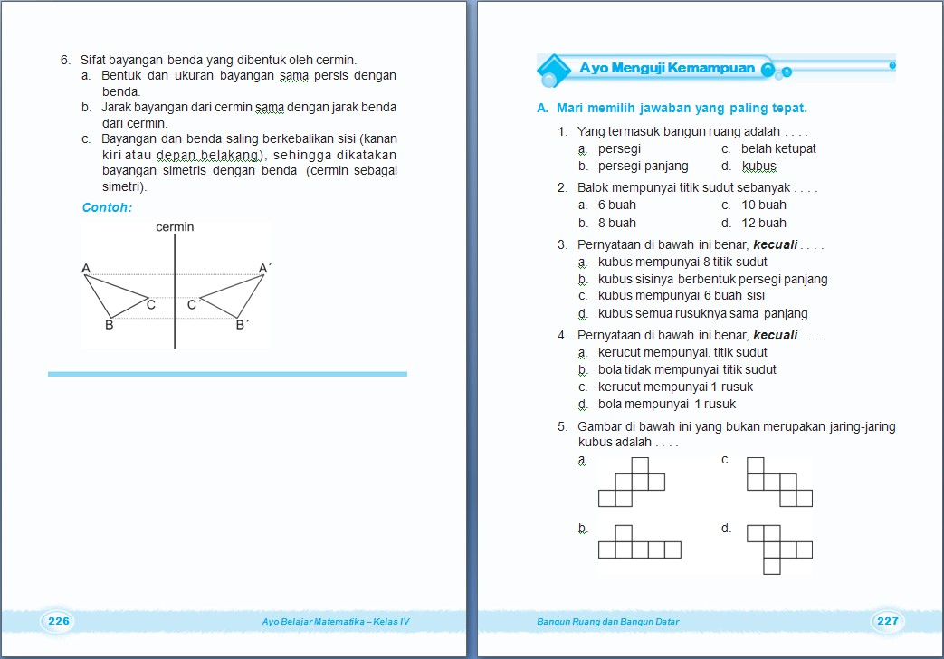 Matematika Bangun Ruang Dan Bangun Datar Bab 8 Kelas 4 Sd Dan Glosari Matematika Kelas 4