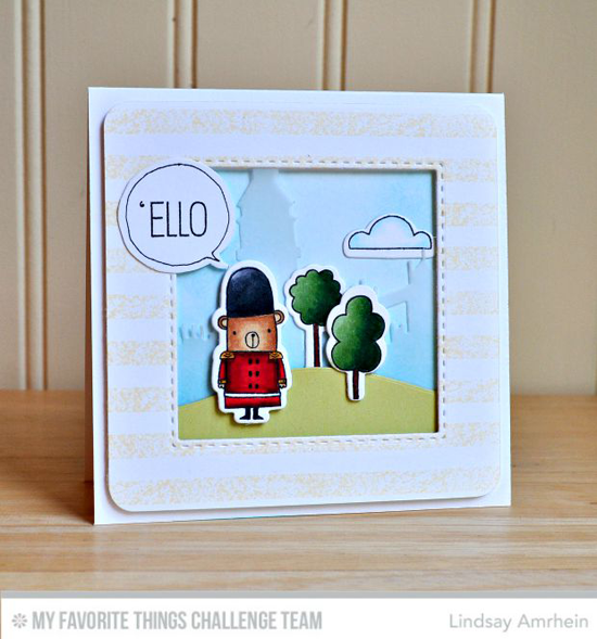 'Ello Card by Lindsay Amrhein featuring the London Mouse stamp set and Die-namics and the London Skyline Die-namics #mftstamps