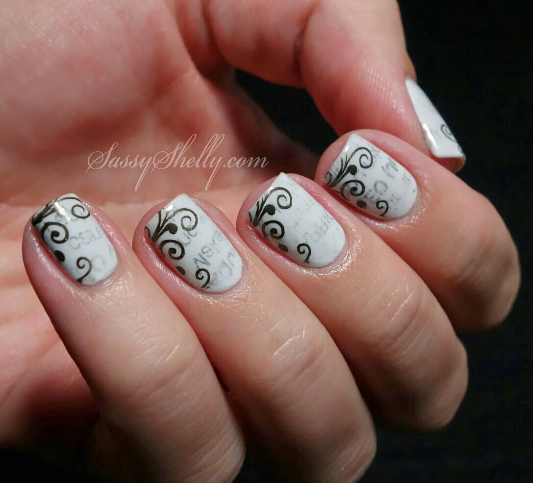 Digit-al Dozen DOES Black & White -Day 1: Newspaper Nails! | Sassy ...