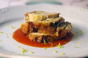 Arrosto di pollo con farcia di lardo d'Arnad, Parmigiano Reggiano e limone