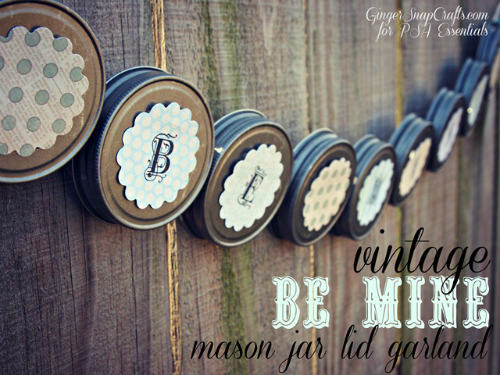 Mason Jar Lid Garland for Valentine's Day