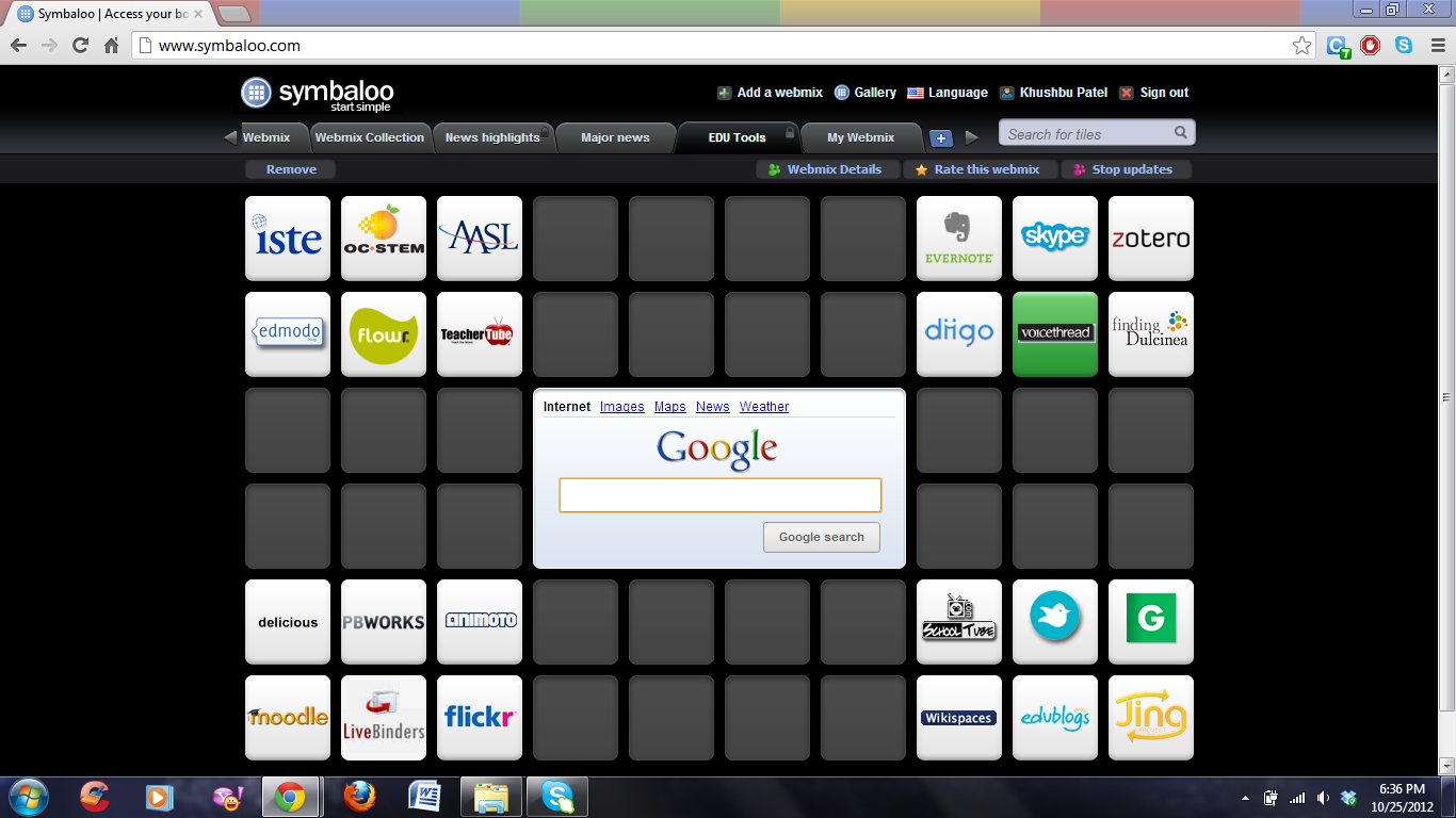 Screenshot of my PLN on Symbaloo