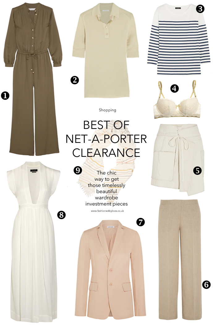 Best picks from Net-a-Porter clearance sale / wardrobe investment pieces / summer wardrobe classics / what to buy for wardrobe basics / Chloe, Michael Kors, Tomas Maier, J Crew, Isabel Marant, Theory / via fashioned by love british fashion blog