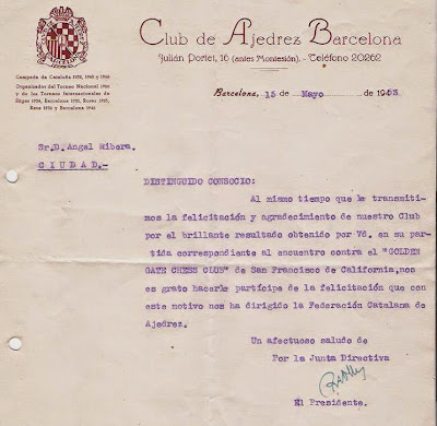 Carta de Ricardo A. Oller a Ángel Ribera, 1953